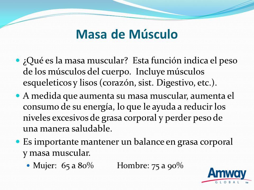 Masa de Músculo ¿Qué es la masa muscular? Esta función indica el peso de los músculos del cuerpo. Incluye músculos esqueleticos y lisos (corazón, sist
