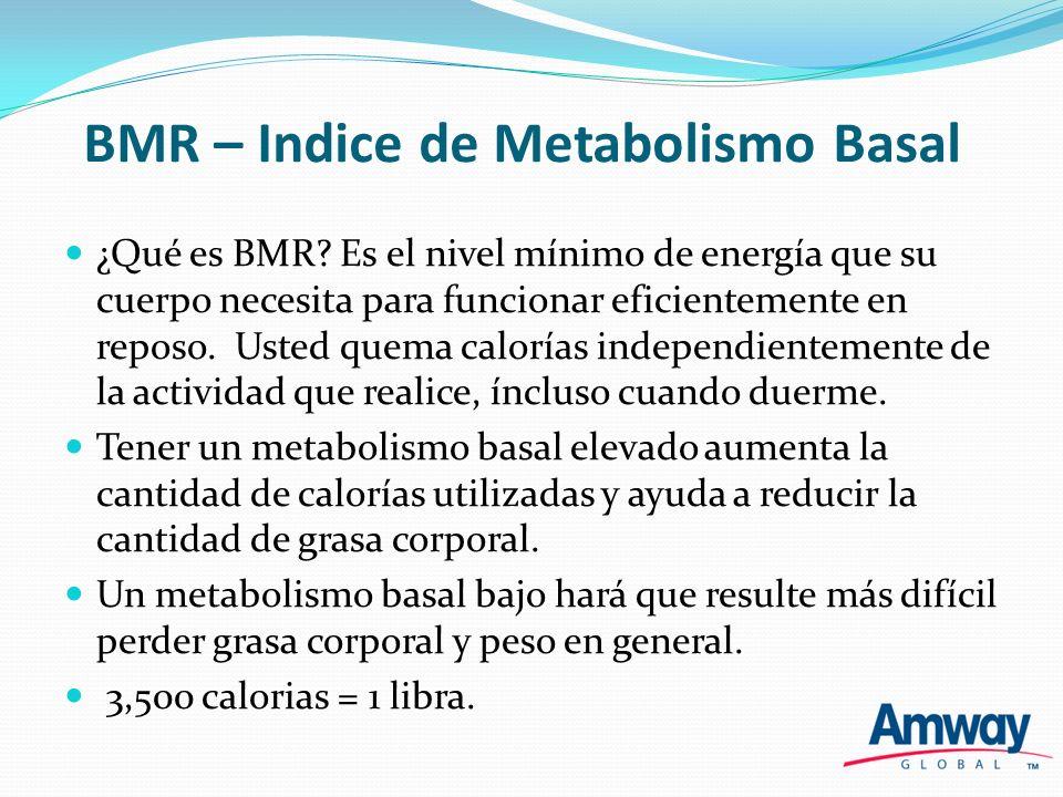 BMR – Indice de Metabolismo Basal ¿Qué es BMR? Es el nivel mínimo de energía que su cuerpo necesita para funcionar eficientemente en reposo. Usted que