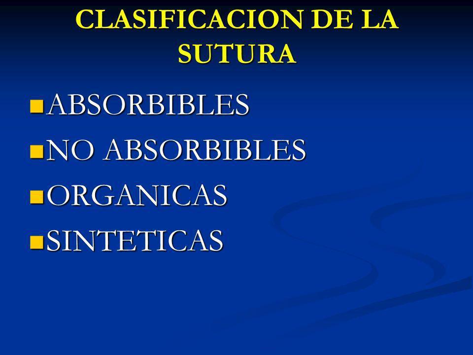 CLASIFICACION DE LA SUTURA ABSORBIBLES ABSORBIBLES NO ABSORBIBLES NO ABSORBIBLES ORGANICAS ORGANICAS SINTETICAS SINTETICAS