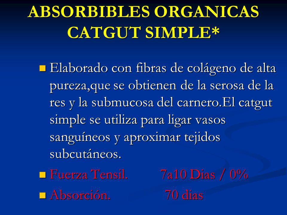ABSORBIBLES ORGANICAS CATGUT SIMPLE* Elaborado con fibras de colágeno de alta pureza,que se obtienen de la serosa de la res y la submucosa del carnero