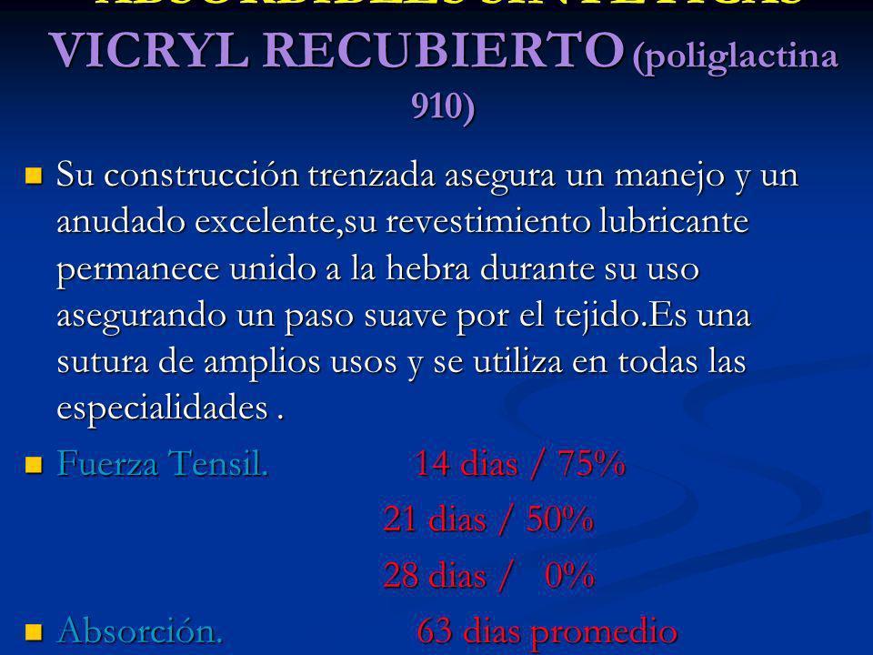 ABSORBIBLES SINTETICAS VICRYL RECUBIERTO (poliglactina 910) ABSORBIBLES SINTETICAS VICRYL RECUBIERTO (poliglactina 910) Su construcción trenzada asegu