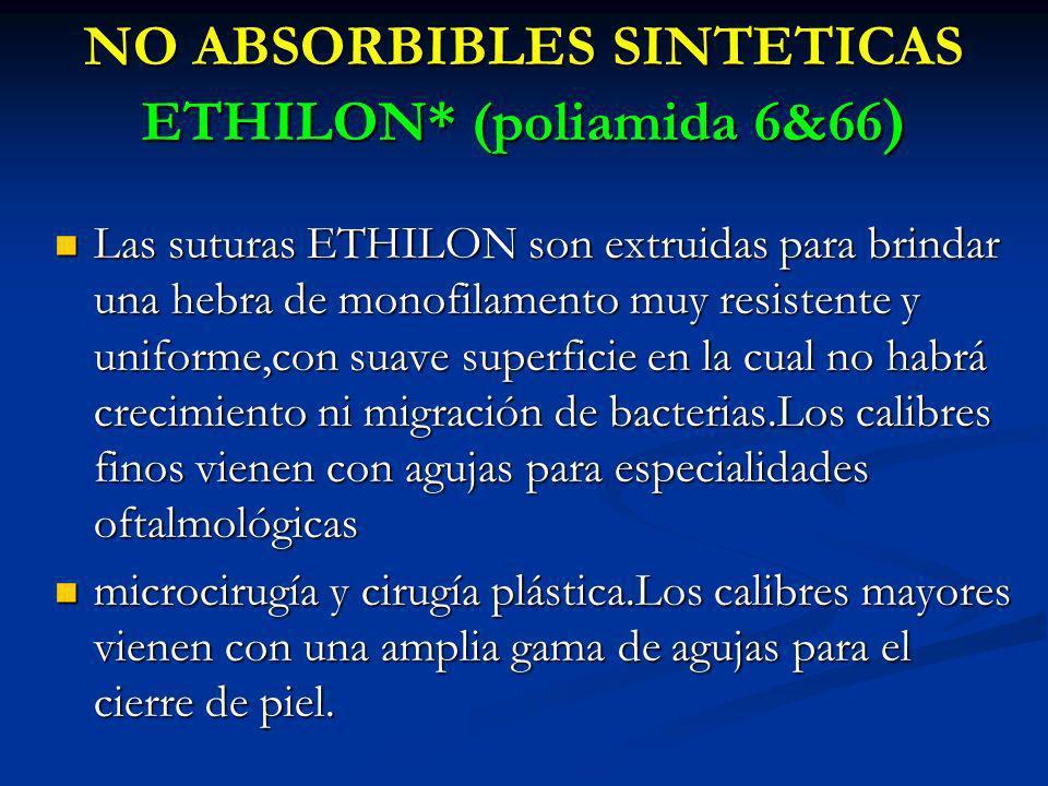 NO ABSORBIBLES SINTETICAS ETHILON* (poliamida 6&66 ) Las suturas ETHILON son extruidas para brindar una hebra de monofilamento muy resistente y unifor