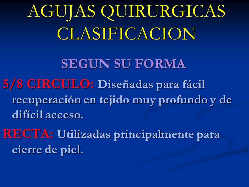 AGUJAS QUIRURGICAS CLASIFICACION SEGUN SU FORMA 5/8 CIRCULO: Diseñadas para fácil recuperación en tejido muy profundo y de difícil acceso. RECTA: Util