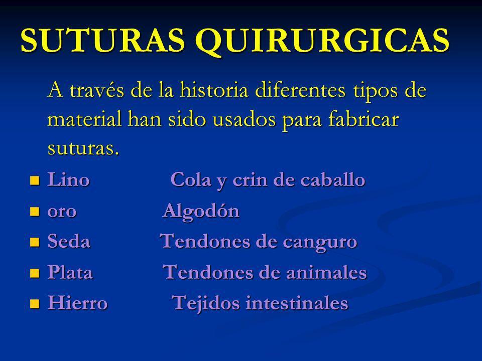 SUTURAS QUIRURGICAS A través de la historia diferentes tipos de material han sido usados para fabricar suturas. A través de la historia diferentes tip