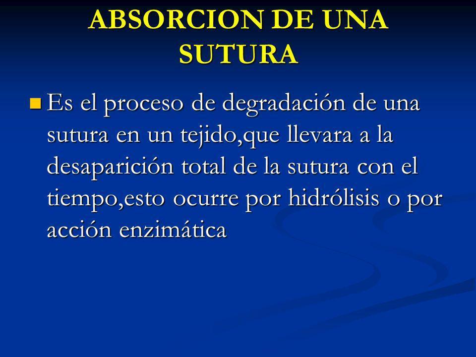ABSORCION DE UNA SUTURA Es el proceso de degradación de una sutura en un tejido,que llevara a la desaparición total de la sutura con el tiempo,esto oc