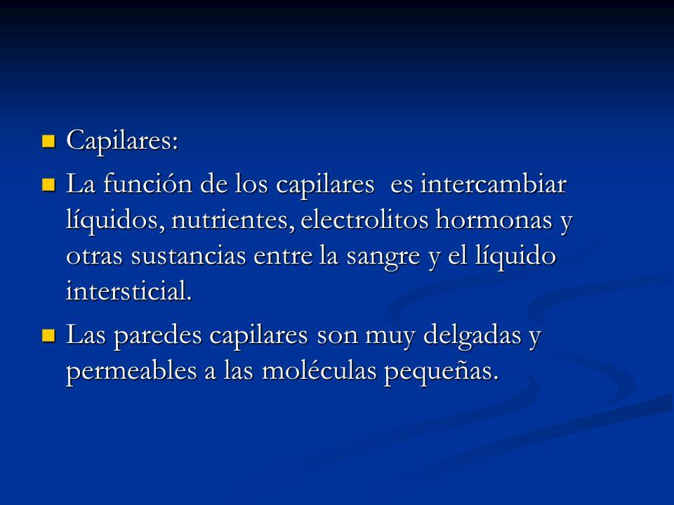 Capilares: Capilares: La función de los capilares es intercambiar líquidos, nutrientes, electrolitos hormonas y otras sustancias entre la sangre y el