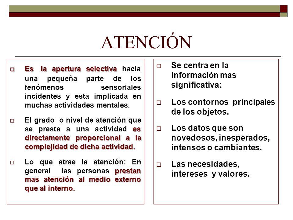 ATENCIÓN Es la apertura selectiva Es la apertura selectiva hacia una pequeña parte de los fenómenos sensoriales incidentes y esta implicada en muchas