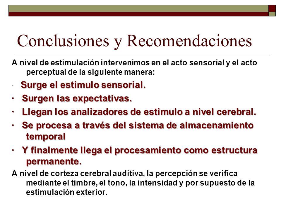 Conclusiones y Recomendaciones A nivel de estimulación intervenimos en el acto sensorial y el acto perceptual de la siguiente manera: Surge el estimul