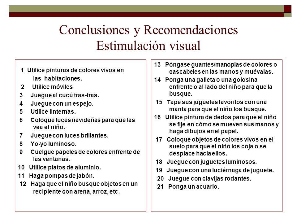 Conclusiones y Recomendaciones Estimulación visual 1 Utilice pinturas de colores vivos en las habitaciones. 2 Utilice móviles 3 Juegue al cucú tras-tr