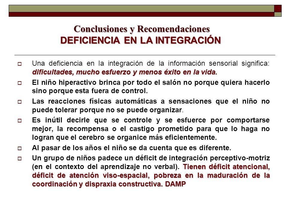 Conclusiones y Recomendaciones DEFICIENCIA EN LA INTEGRACIÓN Conclusiones y Recomendaciones DEFICIENCIA EN LA INTEGRACIÓN dificultades, mucho esfuerzo