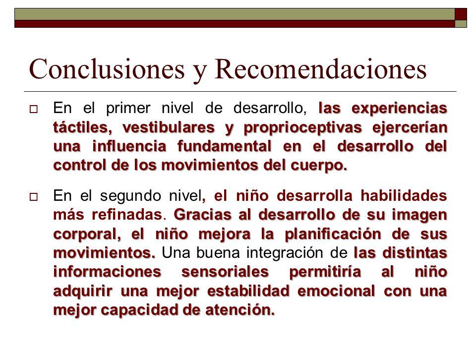 Conclusiones y Recomendaciones las experiencias táctiles, vestibulares y proprioceptivas ejercerían una influencia fundamental en el desarrollo del co