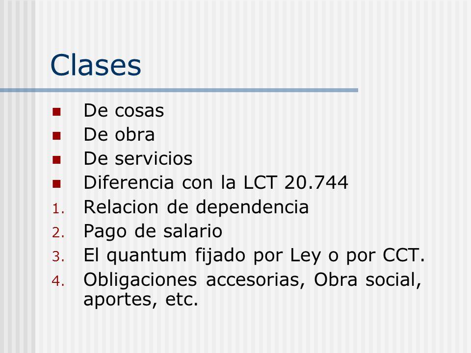 Clases De cosas De obra De servicios Diferencia con la LCT 20.744 1. Relacion de dependencia 2. Pago de salario 3. El quantum fijado por Ley o por CCT