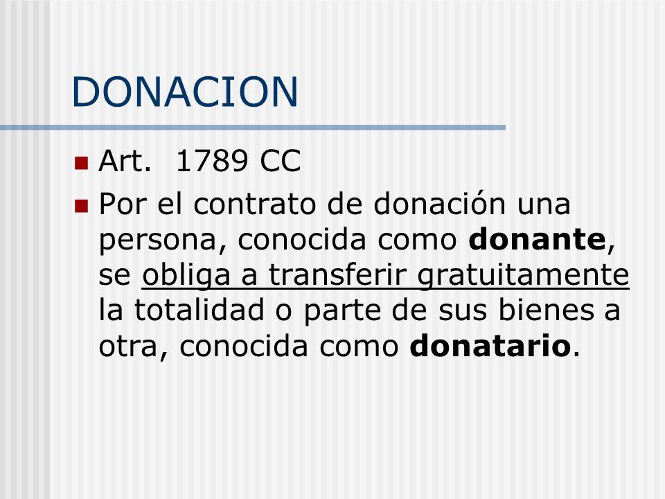 DONACION Art. 1789 CC Por el contrato de donación una persona, conocida como donante, se obliga a transferir gratuitamente la totalidad o parte de sus