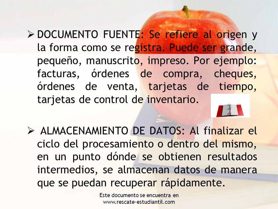 DOCUMENTO FUENTE: Se refiere al origen y la forma como se registra. Puede ser grande, pequeño, manuscrito, impreso. Por ejemplo: facturas, órdenes de