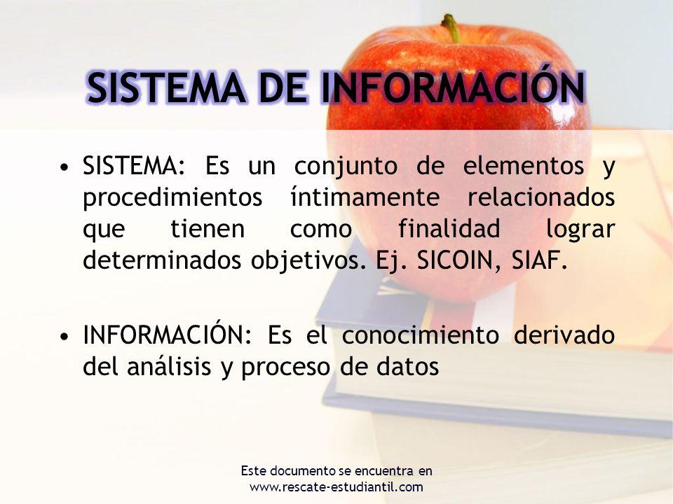 SISTEMA: Es un conjunto de elementos y procedimientos íntimamente relacionados que tienen como finalidad lograr determinados objetivos. Ej. SICOIN, SI