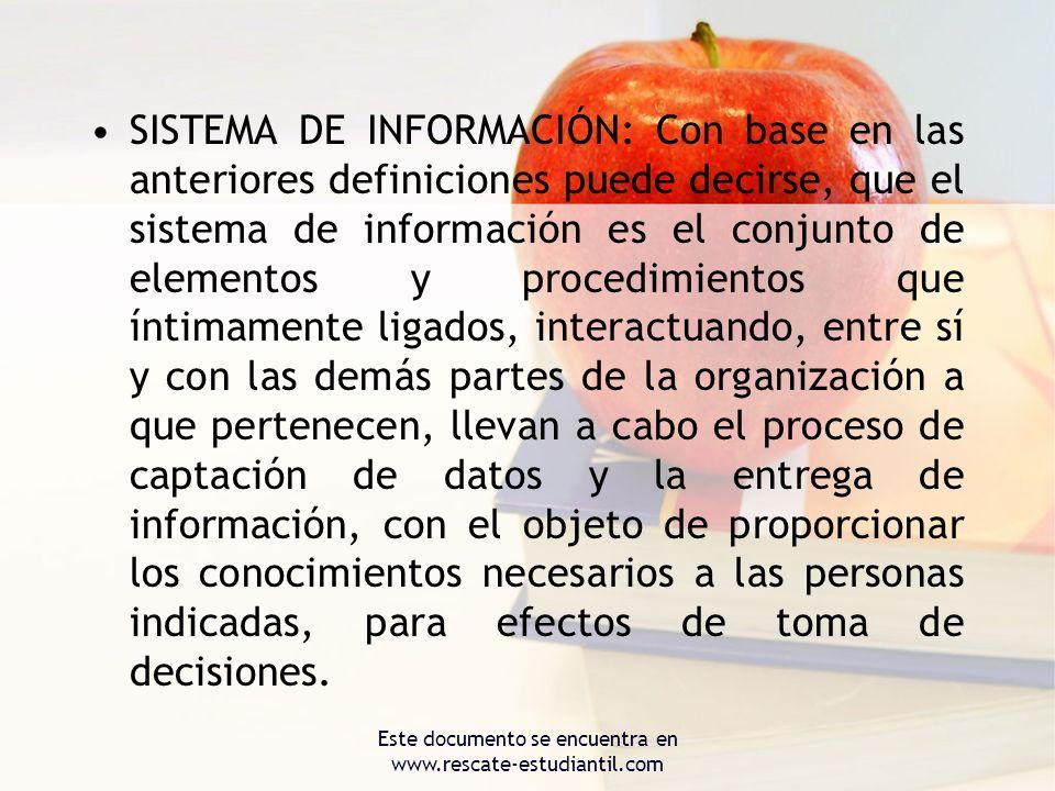 SISTEMA DE INFORMACIÓN: Con base en las anteriores definiciones puede decirse, que el sistema de información es el conjunto de elementos y procedimien