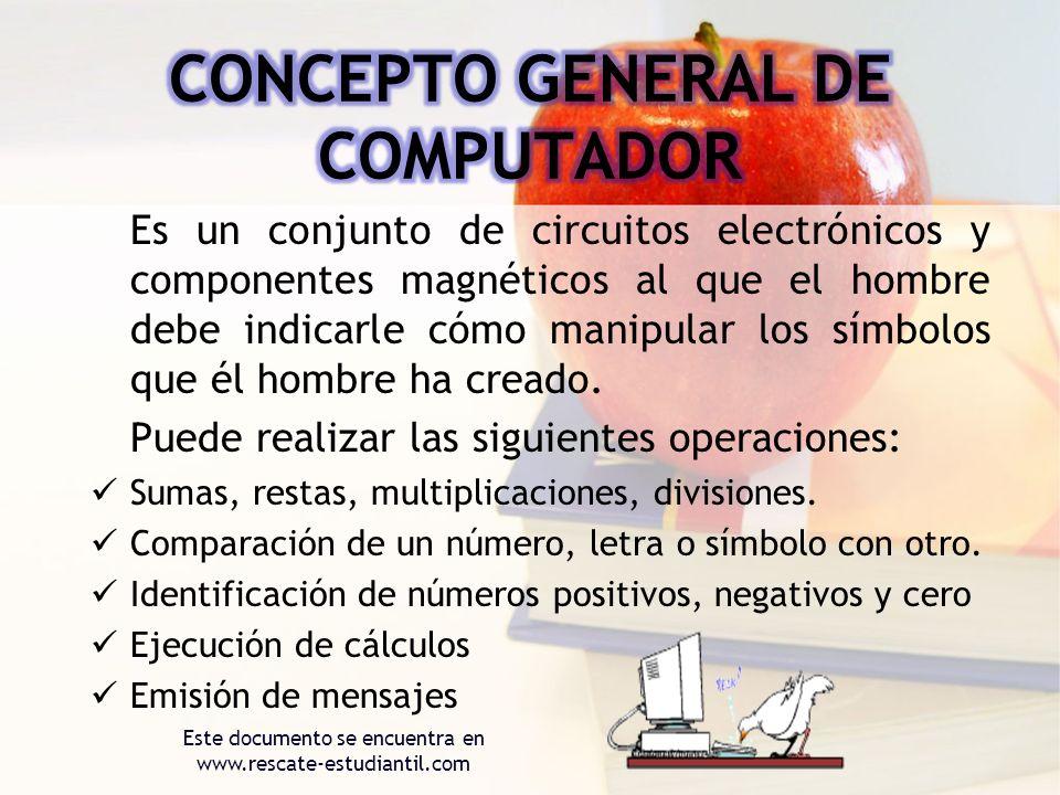Es un conjunto de circuitos electrónicos y componentes magnéticos al que el hombre debe indicarle cómo manipular los símbolos que él hombre ha creado.