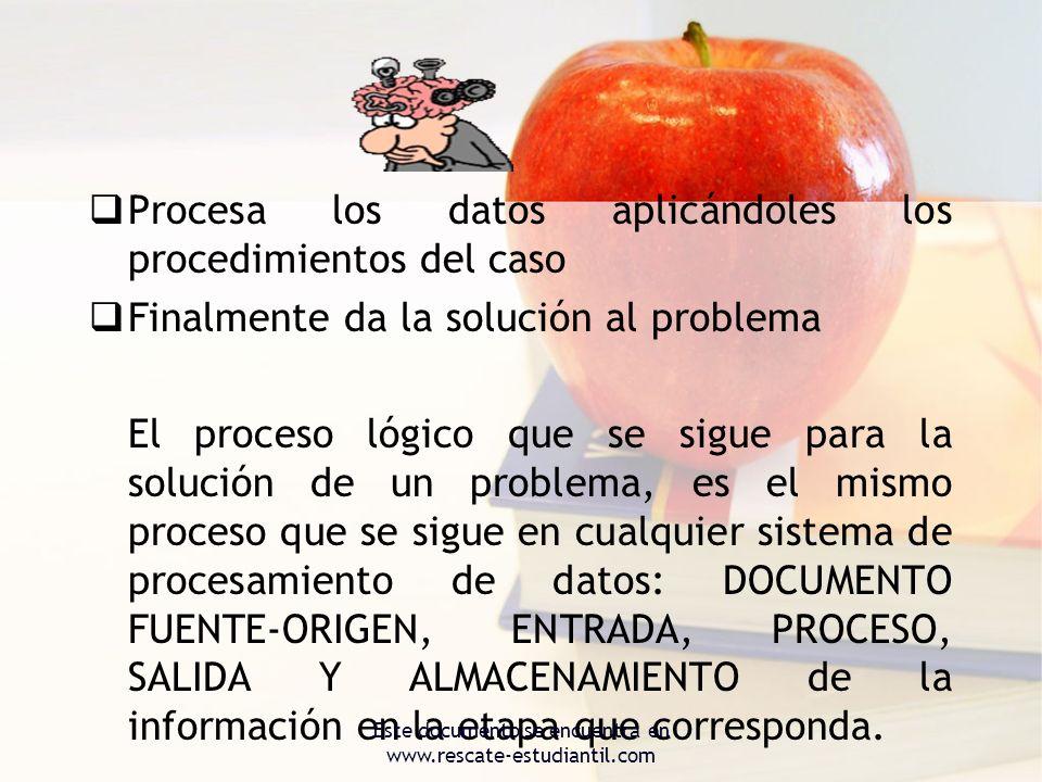Procesa los datos aplicándoles los procedimientos del caso Finalmente da la solución al problema El proceso lógico que se sigue para la solución de un