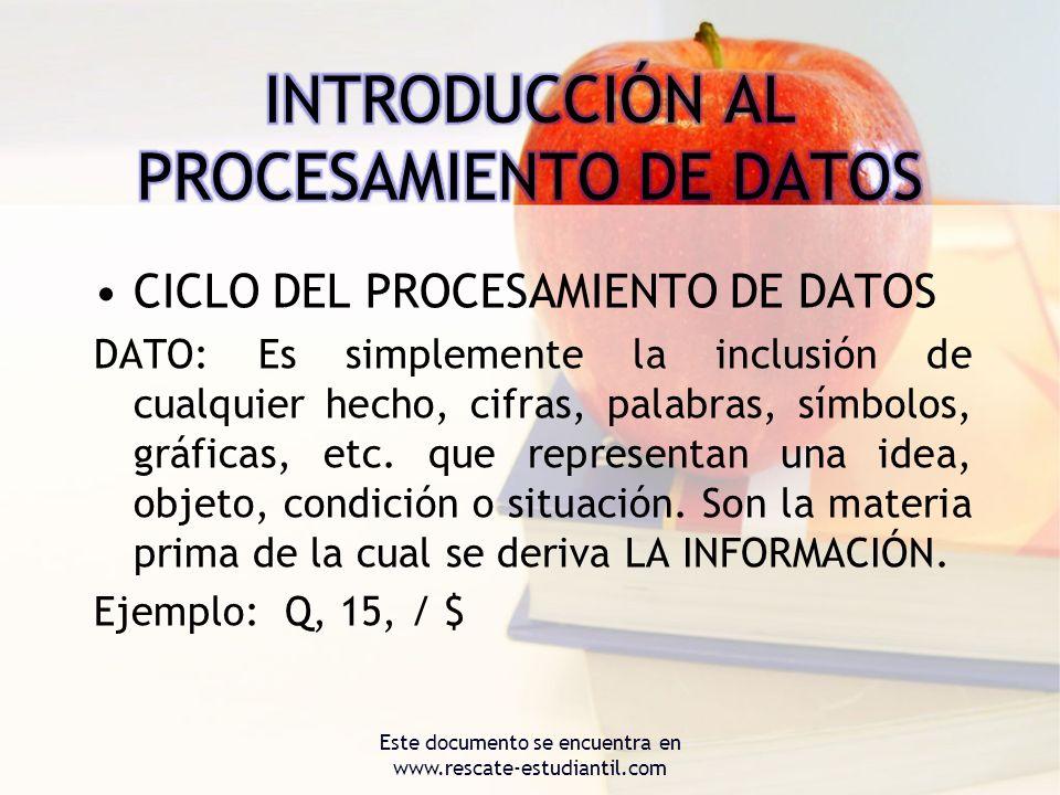 CICLO DEL PROCESAMIENTO DE DATOS DATO: Es simplemente la inclusión de cualquier hecho, cifras, palabras, símbolos, gráficas, etc. que representan una