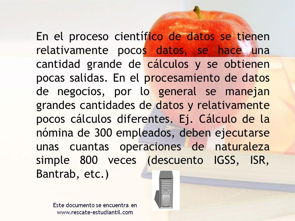 En el proceso científico de datos se tienen relativamente pocos datos, se hace una cantidad grande de cálculos y se obtienen pocas salidas. En el proc