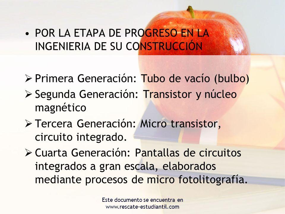 POR LA ETAPA DE PROGRESO EN LA INGENIERIA DE SU CONSTRUCCIÓN Primera Generación: Tubo de vacío (bulbo) Segunda Generación: Transistor y núcleo magnéti