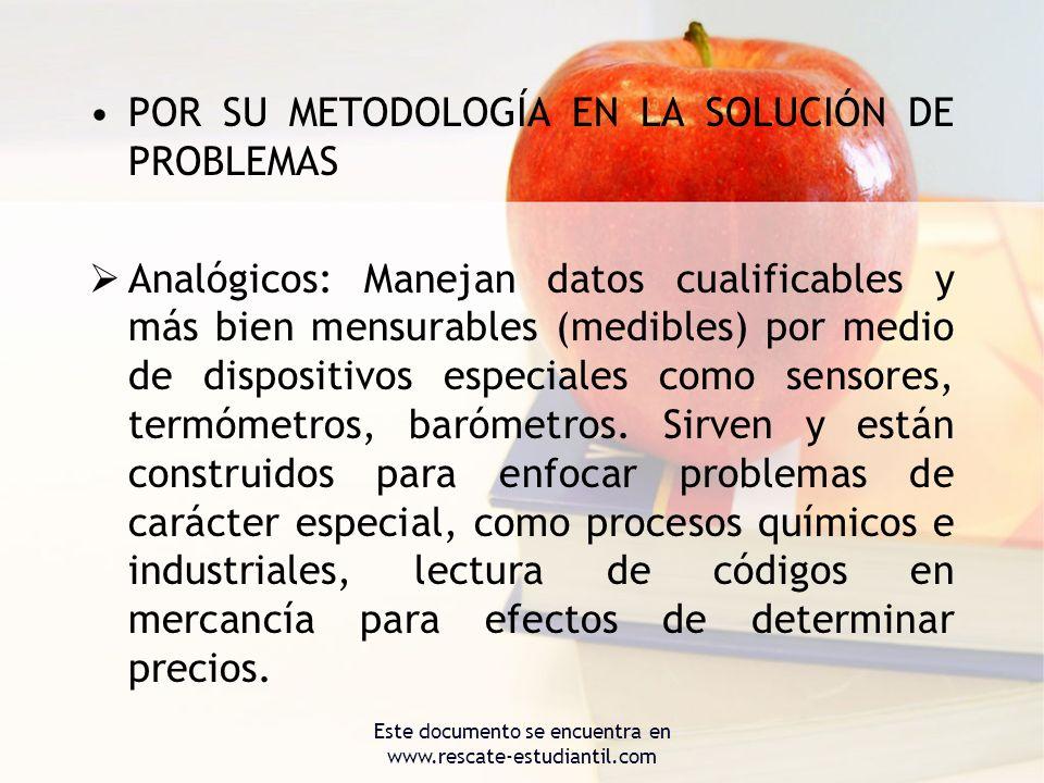 POR SU METODOLOGÍA EN LA SOLUCIÓN DE PROBLEMAS Analógicos: Manejan datos cualificables y más bien mensurables (medibles) por medio de dispositivos esp