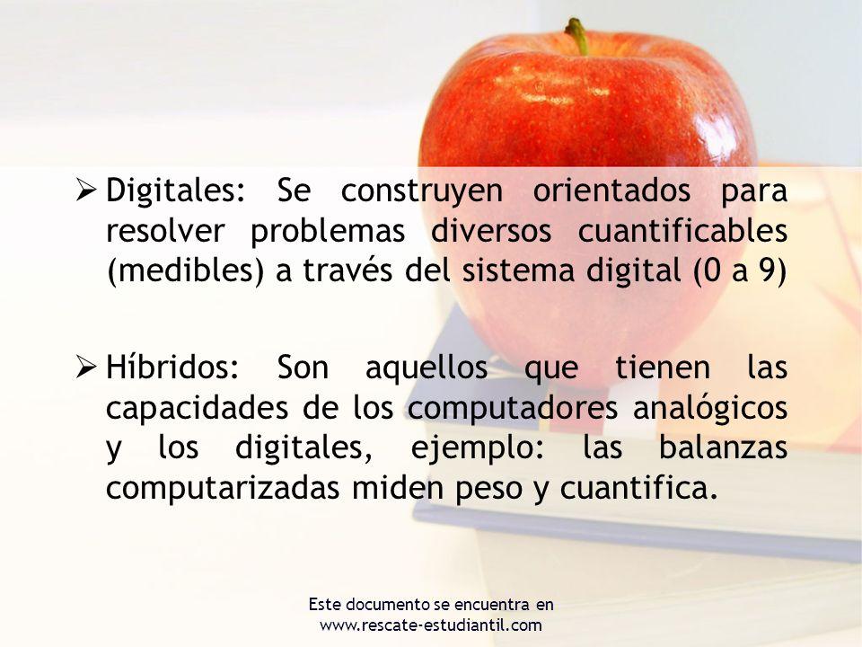 Digitales: Se construyen orientados para resolver problemas diversos cuantificables (medibles) a través del sistema digital (0 a 9) Híbridos: Son aque