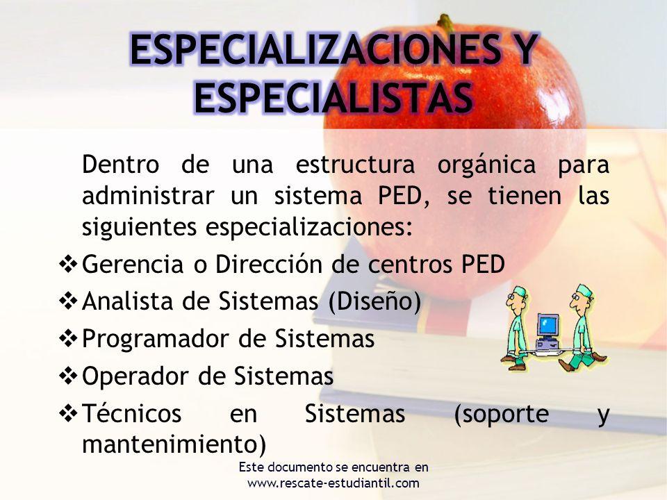 Dentro de una estructura orgánica para administrar un sistema PED, se tienen las siguientes especializaciones: Gerencia o Dirección de centros PED Ana