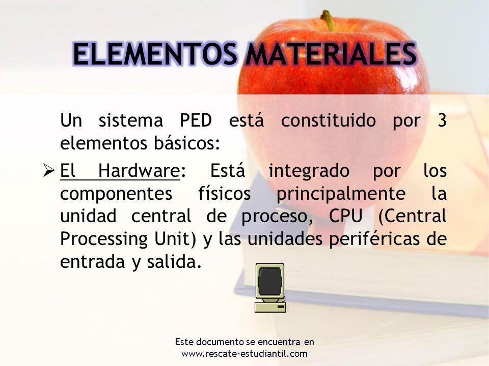 Un sistema PED está constituido por 3 elementos básicos: El Hardware: Está integrado por los componentes físicos principalmente la unidad central de p