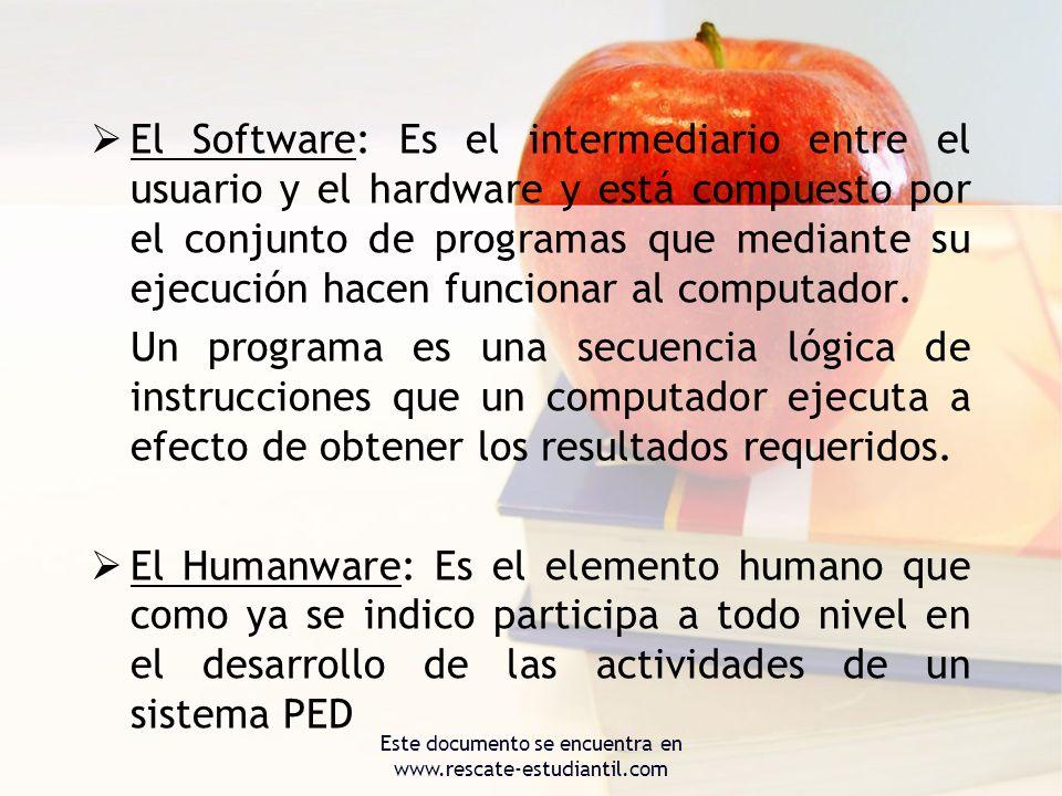 El Software: Es el intermediario entre el usuario y el hardware y está compuesto por el conjunto de programas que mediante su ejecución hacen funciona