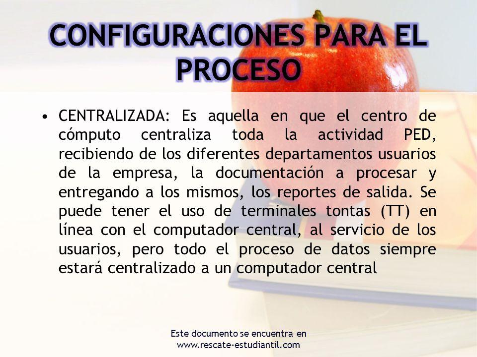 CENTRALIZADA: Es aquella en que el centro de cómputo centraliza toda la actividad PED, recibiendo de los diferentes departamentos usuarios de la empre