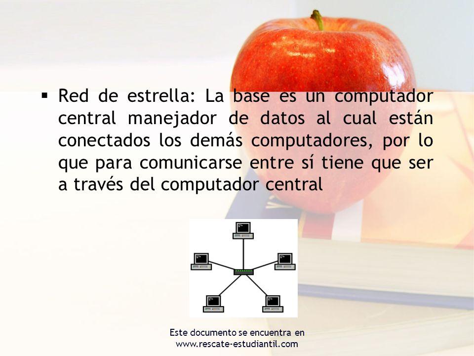 Red de estrella: La base es un computador central manejador de datos al cual están conectados los demás computadores, por lo que para comunicarse entr