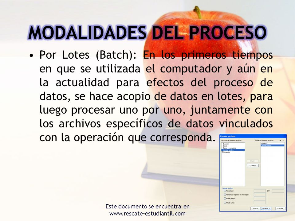 Por Lotes (Batch): En los primeros tiempos en que se utilizada el computador y aún en la actualidad para efectos del proceso de datos, se hace acopio