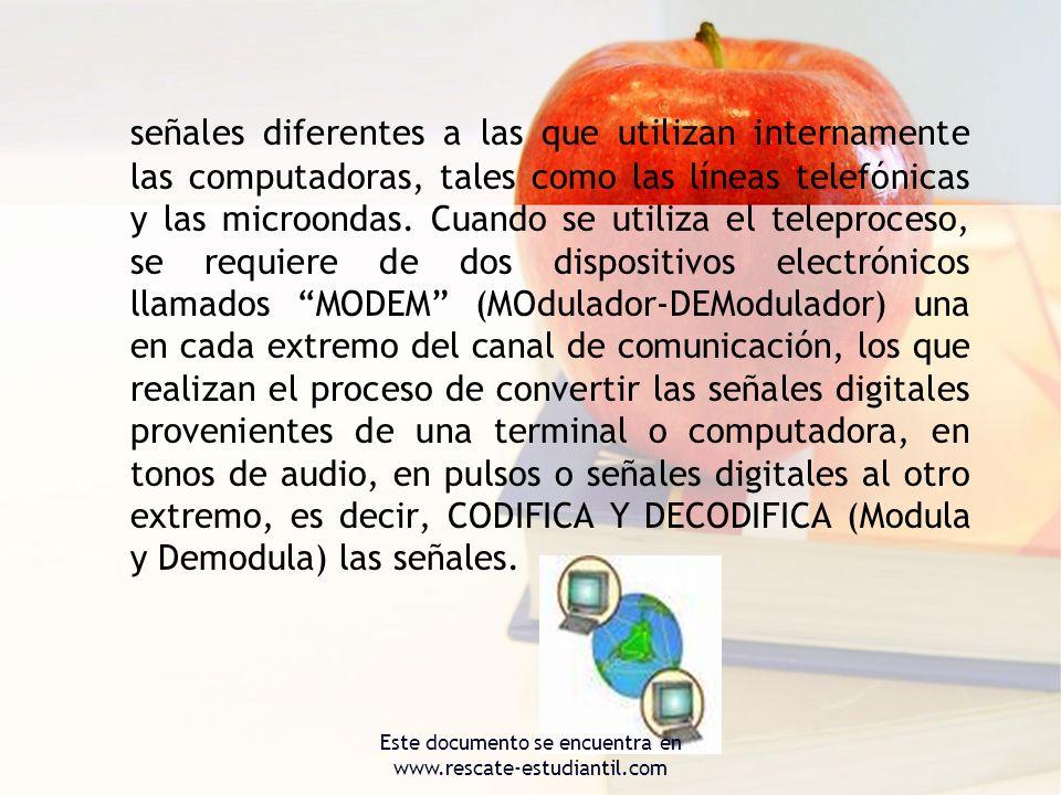señales diferentes a las que utilizan internamente las computadoras, tales como las líneas telefónicas y las microondas. Cuando se utiliza el teleproc