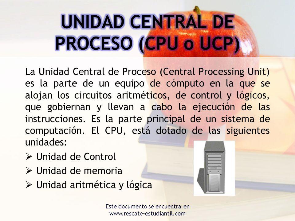 La Unidad Central de Proceso (Central Processing Unit) es la parte de un equipo de cómputo en la que se alojan los circuitos aritméticos, de control y