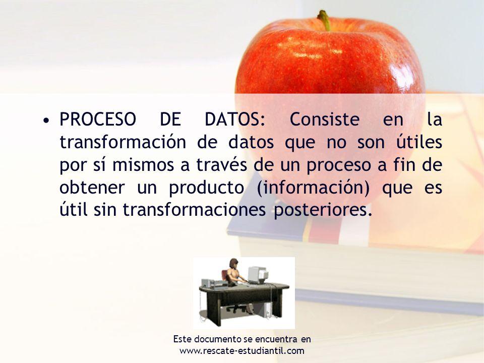 PROCESO DE DATOS: Consiste en la transformación de datos que no son útiles por sí mismos a través de un proceso a fin de obtener un producto (informac