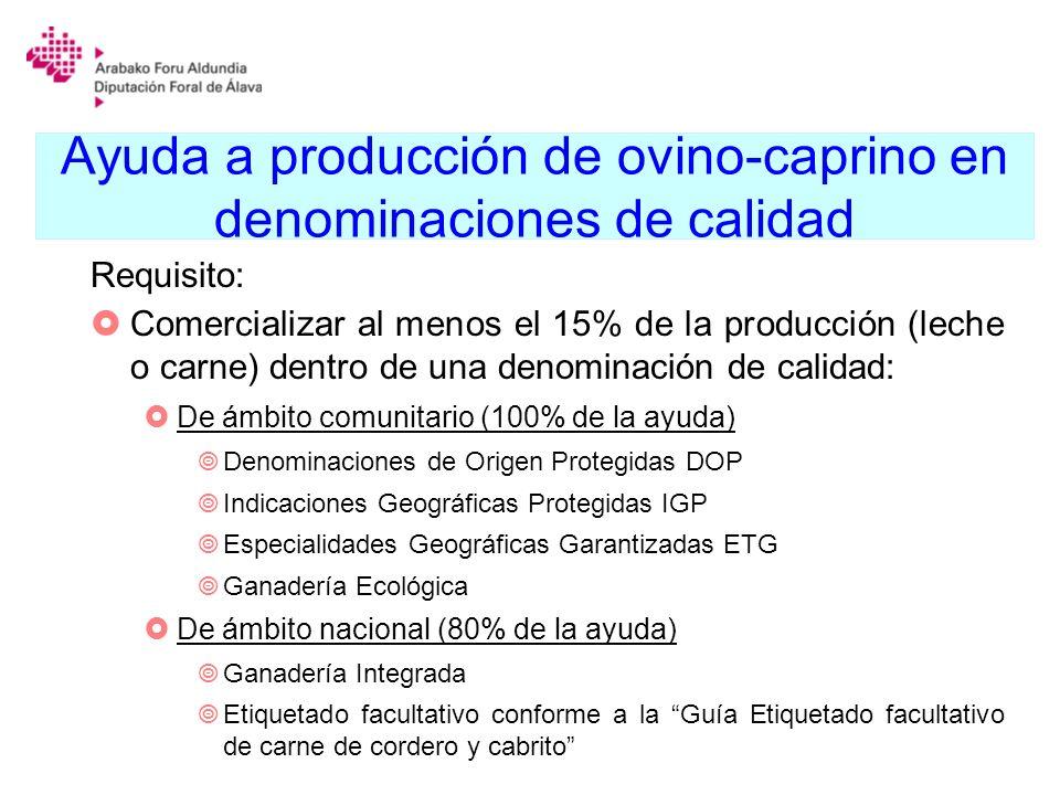 Ayuda a producción de ovino-caprino en denominaciones de calidad Requisito: Comercializar al menos el 15% de la producción (leche o carne) dentro de u