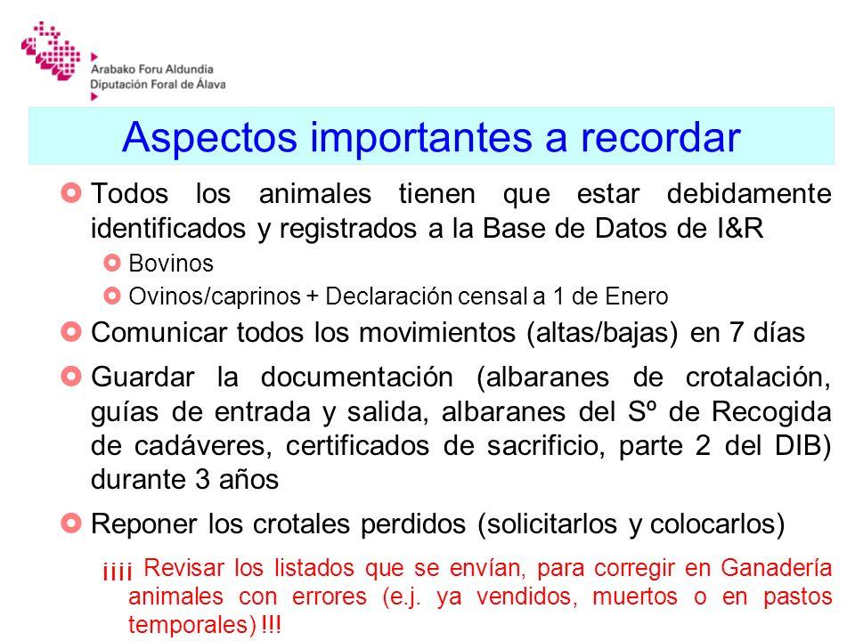 Aspectos importantes a recordar Todos los animales tienen que estar debidamente identificados y registrados a la Base de Datos de I&R Bovinos Ovinos/c