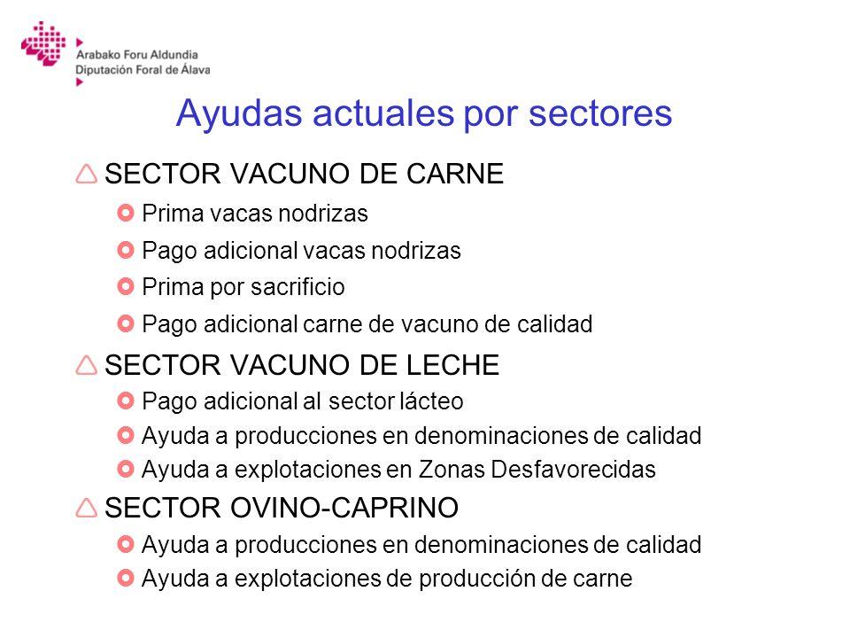 Ayudas actuales por sectores SECTOR VACUNO DE CARNE Prima vacas nodrizas Pago adicional vacas nodrizas Prima por sacrificio Pago adicional carne de va