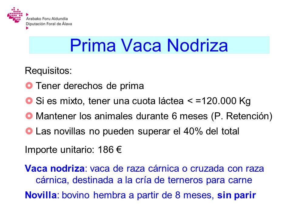 Prima Vaca Nodriza Requisitos: Tener derechos de prima Si es mixto, tener una cuota láctea < =120.000 Kg Mantener los animales durante 6 meses (P. Ret