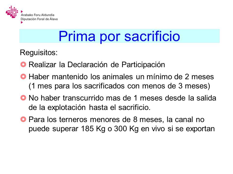 Prima por sacrificio Reguisitos: Realizar la Declaración de Participación Haber mantenido los animales un mínimo de 2 meses (1 mes para los sacrificad
