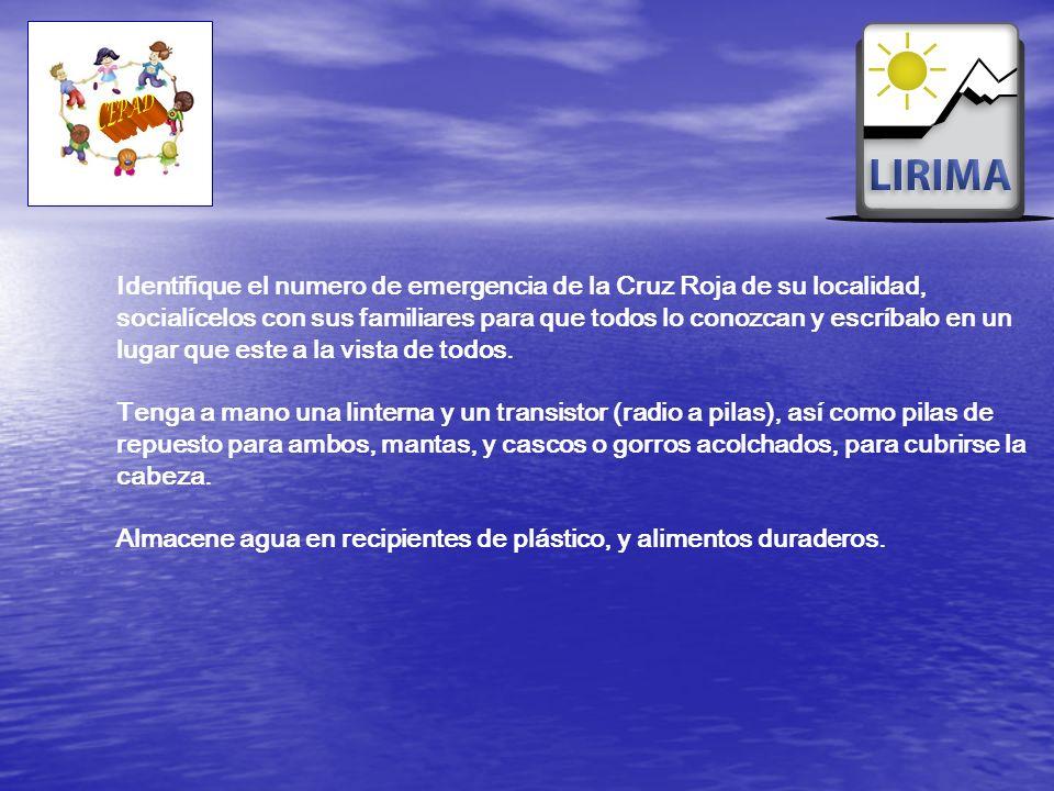 Identifique el numero de emergencia de la Cruz Roja de su localidad, socialícelos con sus familiares para que todos lo conozcan y escríbalo en un luga