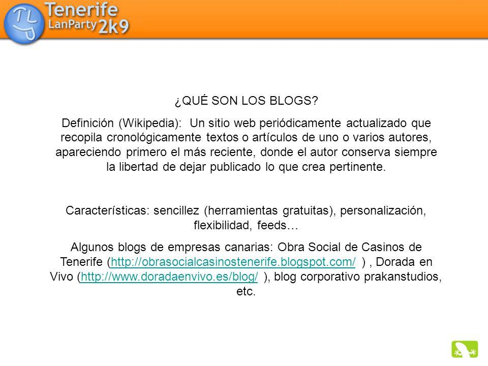 ¿QUÉ SON LOS BLOGS? Definición (Wikipedia): Un sitio web periódicamente actualizado que recopila cronológicamente textos o artículos de uno o varios a