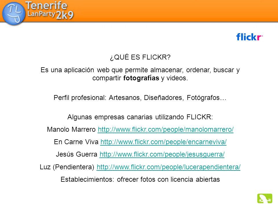 ¿QUÉ ES FLICKR? Es una aplicación web que permite almacenar, ordenar, buscar y compartir fotografías y videos. Perfil profesional: Artesanos, Diseñado