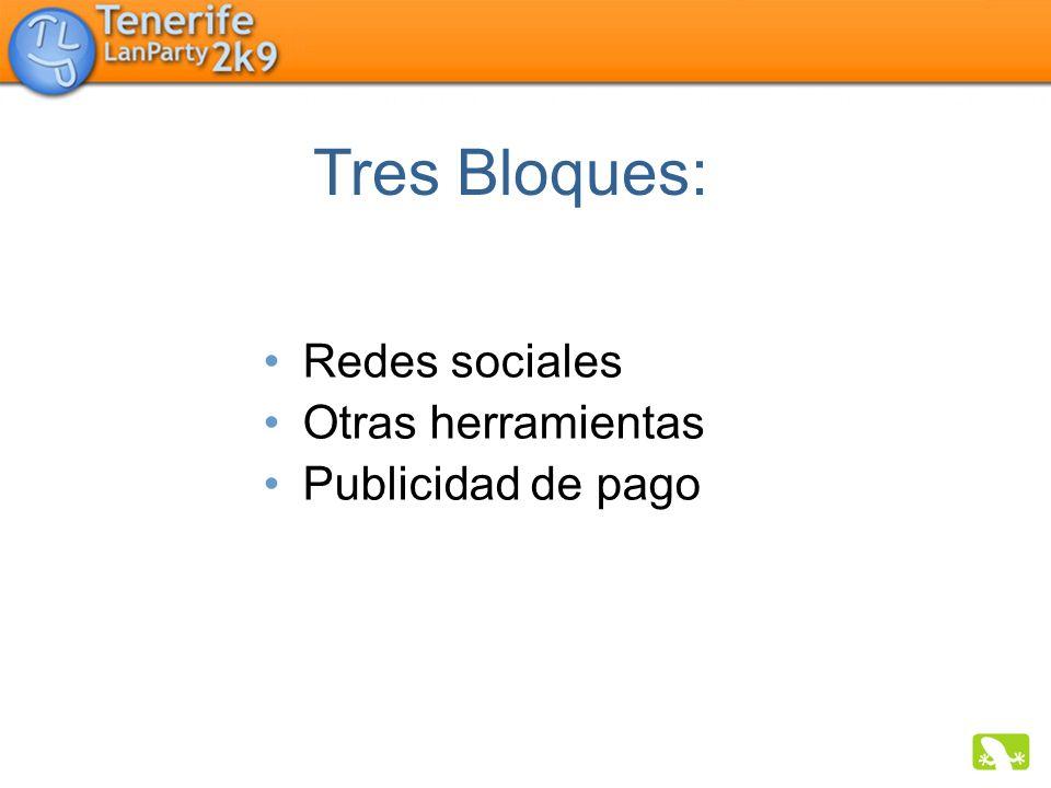 Redes sociales Otras herramientas Publicidad de pago Tres Bloques: