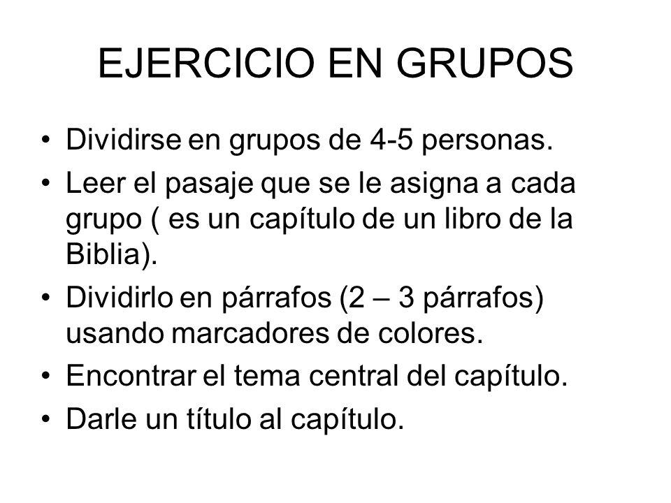 EJERCICIO EN GRUPOS – Pag.E-17 Trabajar en grupos por mesa.