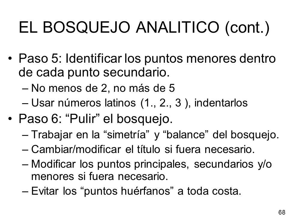 EL BOSQUEJO ANALITICO (cont.) Paso 5: Identificar los puntos menores dentro de cada punto secundario. –No menos de 2, no más de 5 –Usar números latino
