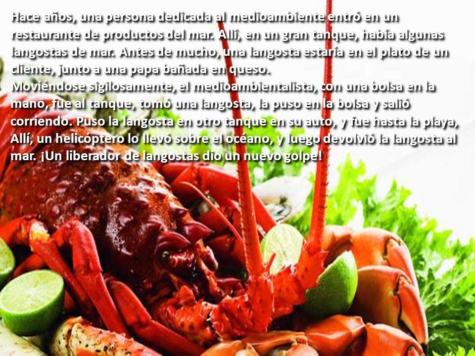 1. ¡EL MOVIMIENTO DE LIBERACIÓN DE LA LANGOSTA DE MAR! Hace años, una persona dedicada al medioambiente entró en un restaurante de productos del mar.