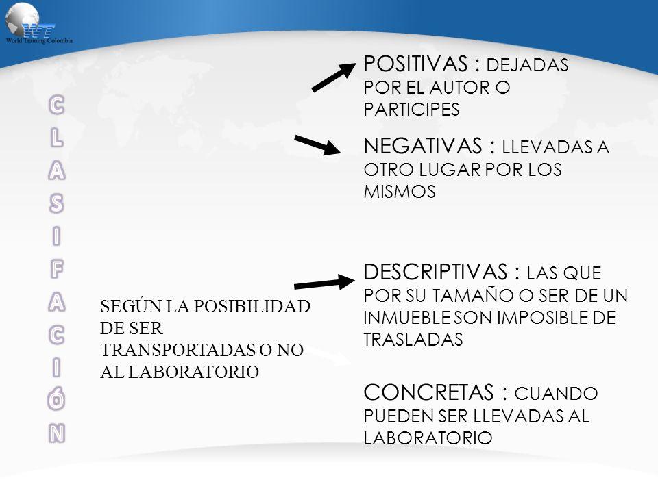 POSIBILIDAD INDIVIDUALIZADORA CARACTERISTICAS UNICAS: PERMITEN UNA GRAN APROXIMACION A LA IDENTIFICACION DE SU ORIGEN.