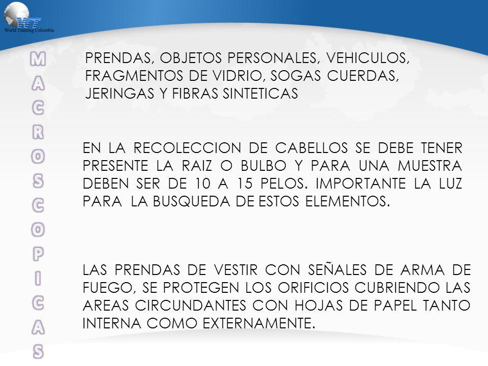 PRENDAS, OBJETOS PERSONALES, VEHICULOS, FRAGMENTOS DE VIDRIO, SOGAS CUERDAS, JERINGAS Y FIBRAS SINTETICAS EN LA RECOLECCION DE CABELLOS SE DEBE TENER